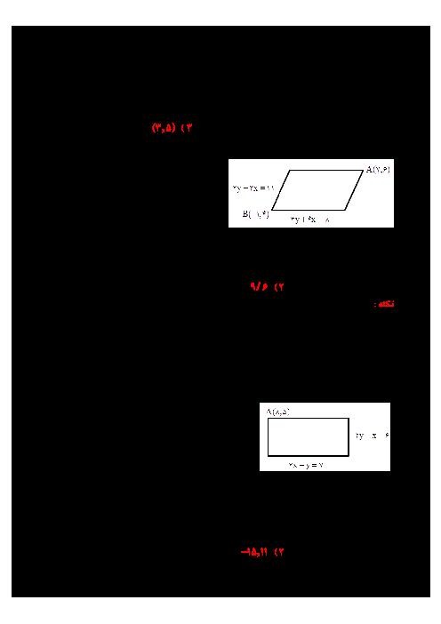 سوالات تستی حسابان (1) یازدهم | آشنایی با هندسه تحلیلی