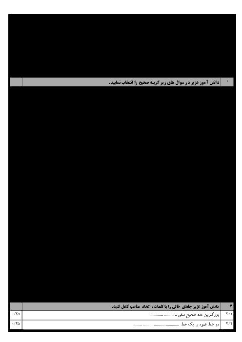 امتحان نوبت اول ریاضی هشتم مدرسه امام رضا قزوین | دی 1395