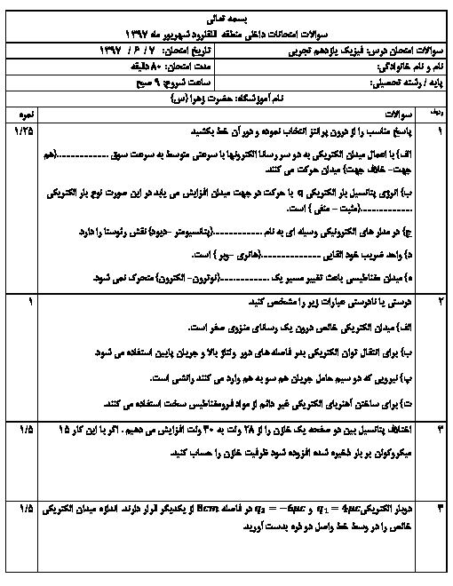 آزمون جبرانی نوبت دوم فیزیک یازدهم تجربی دبیرستان حضرت زهرا قلقل رود | شهریور 1397