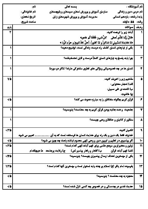 امتحان نوبت اول دین و زندگی (2) یازدهم رشته ادبیات و علوم انسانی دبیرستان رضوان زابل | دی 96