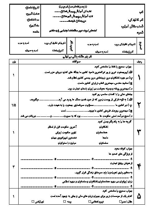 آزمون نوبت دوم مطالعات اجتماعی هفتم مدرسه حضرت امیر (ع) | خرداد 1397