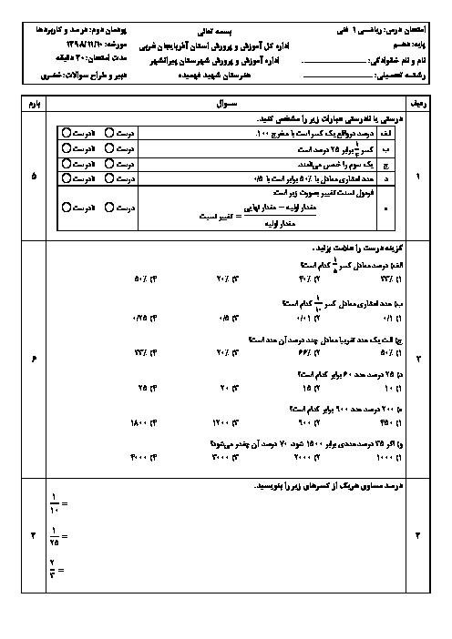 سوالات امتحان ریاضی (1) دهم فنی هنرستان شهید حسین فهمیده    پودمان 2: درصد و کاربردهای آن