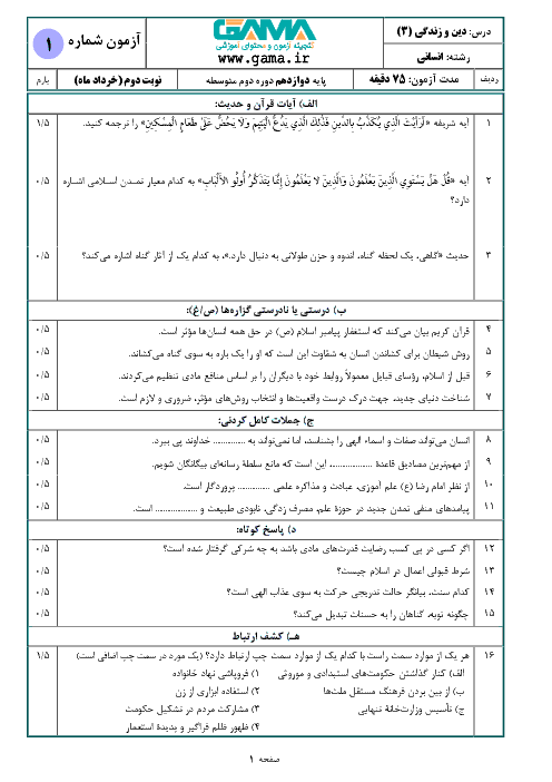 سؤالات امتحان نهایی درس دین و زندگی (۳) پایه دوازدهم رشته انسانی   دی 97 + پاسخ
