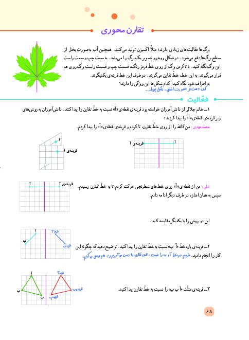 راهنمای گام به گام ریاضی پنجم دبستان   فصل 4: تقارن و چند ضلعیها