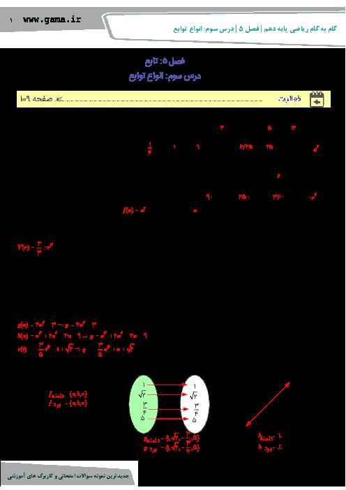 راهنمای گام به گام ریاضی (1) دهم رشته رياضی و تجربی | فصل 5 | درس سوم: انواع توابع