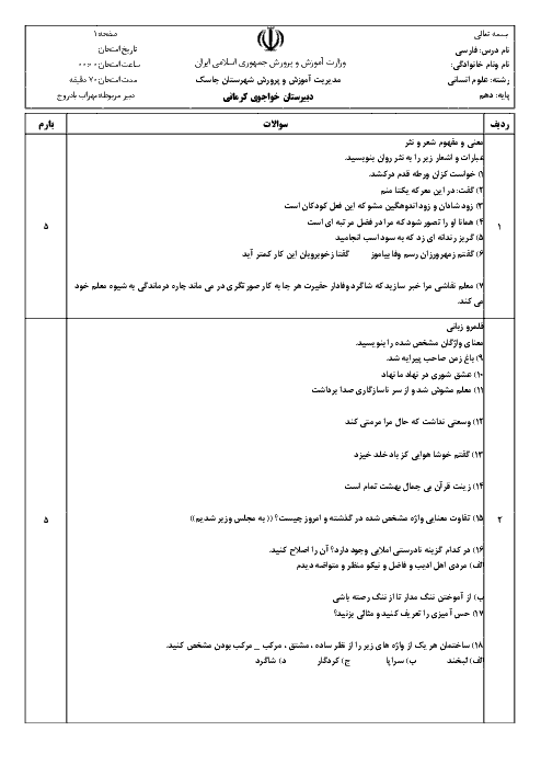 آزمون نوبت اول فارسی (1) کلاس دهم رشتۀ ادبیات و علوم انسانی دبیرستان خواجوی کرمانی | دی 95