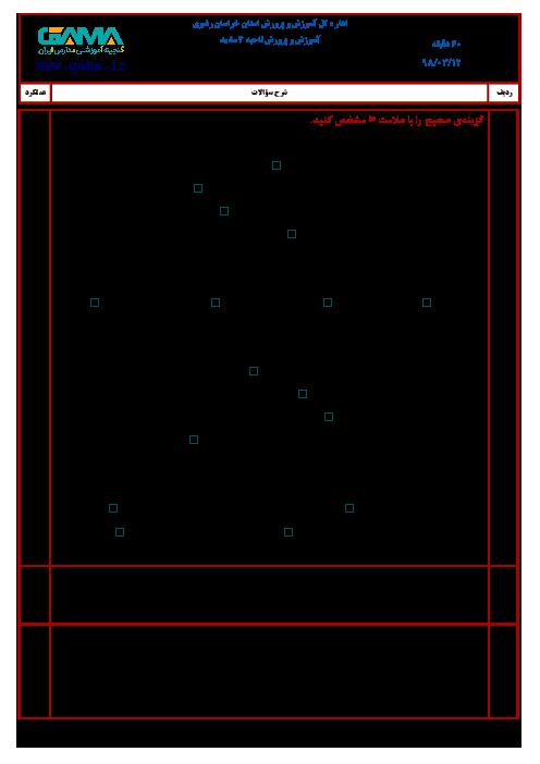 آزمون نوبت دوم انشای فارسی ششم هماهنگ ناحیه 4 مشهد (شیفت عصر) | خرداد 1398