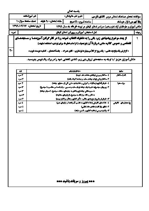 امتحان هماهنگ استانی نوبت دوم خرداد ماه 96 درس انشا فارسی پایه نهم | نوبت صبح و عصر استان گیلان