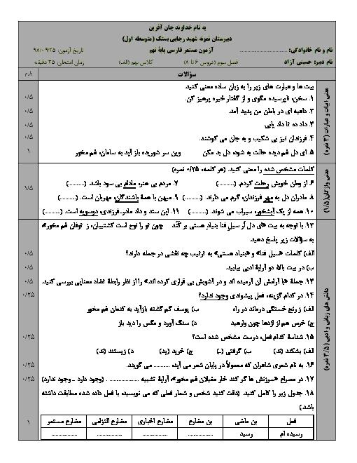 آزمون مستمر فارسی پایه نهم دبیرستان شهید رجایی بستک | فصل 3 (درس 6 تا 8)