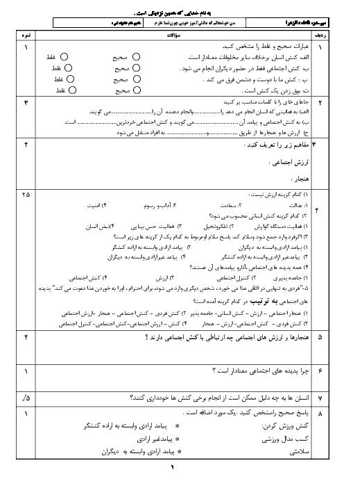 امتحان کلاسی هویت اجتماعی دوازدهم دبیرستان فاطمه الزهرا خواف   درس 1 و 2
