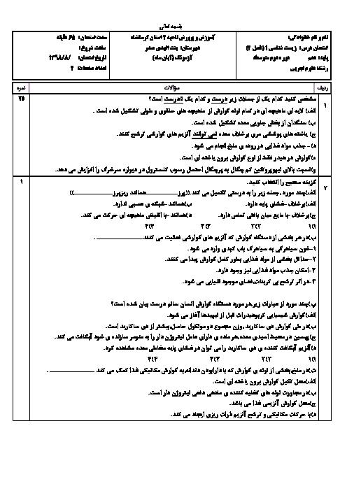 امتحان زیست شناسی (1) دهم دبیرستان بنت الهدی صدر   فصل 2: گوارش و جذب مواد