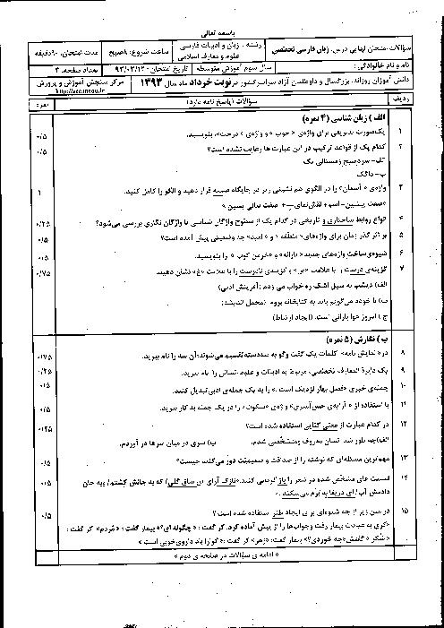 سوالات امتحان نهایی زبان فارسی تخصصی با پاسخنامه | خرداد 1393
