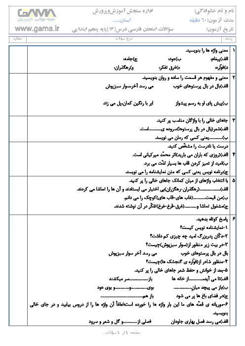 آزمونک فارسی پنجم دبستان | درس 13: روزی که باران میبارید