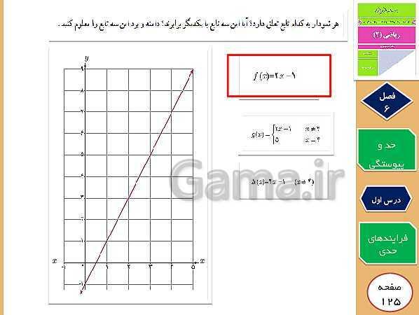 پاورپوینت تدریس و حل کار در کلاس و فعالیت های ریاضی (2) یازدهم رشته تجربی   فصل 6: حد و پیوستگی (درس 1 تا 3)- پیش نمایش
