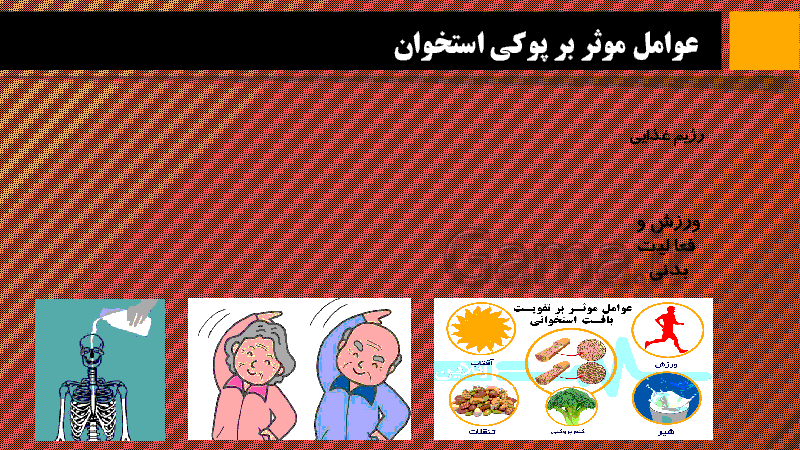 پاورپوینت اطلاعات جمع آوری کنید در مورد عوامل موثر بر پوکی استخوان و منابع غذایی دارای کلسیم و فسفر  | صفحه 43 کتاب علوم هشتم- پیش نمایش