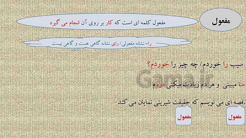 پاورپوینت نقش های اصلی و فرعی در زبان فارسی- پیش نمایش