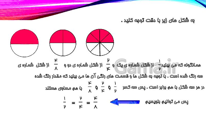 پاورپوینت آموزشی ریاضی چهارم دبستان | فصل دوم: تساوی کسر ها- پیش نمایش