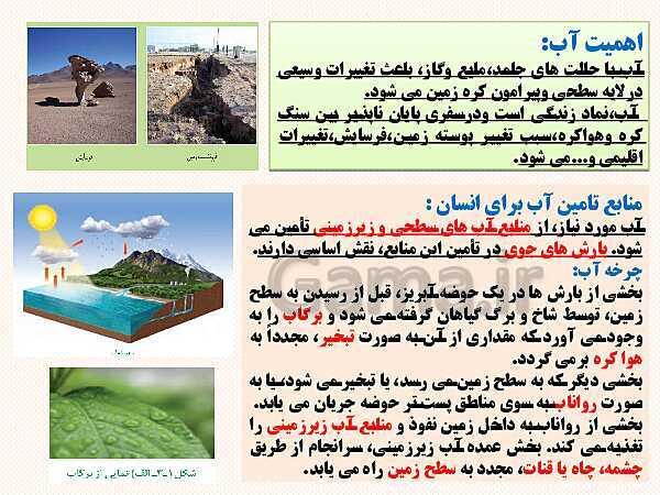 پاورپوینت محتوای الکترونیکی زمین شناسی یازدهم | فصل 3: منابع آب و خاک- پیش نمایش