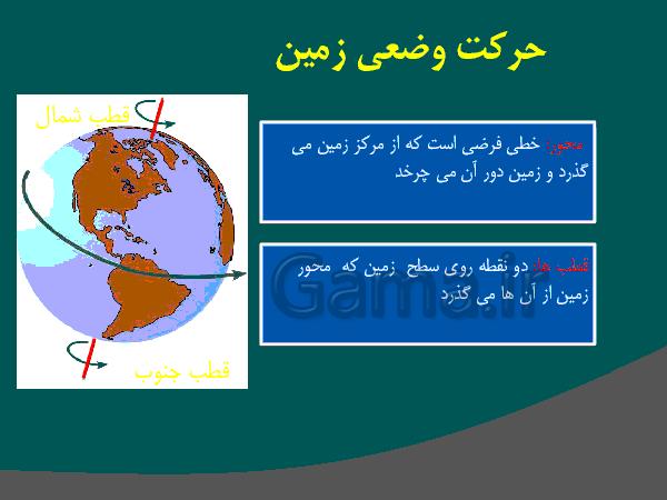 پاورپوینت آموزشی مطالعات اجتماعی پنجم دبستان   درس 13: حرکتهای زمین (حرکت وضعی و انتقالی کره زمین)- پیش نمایش