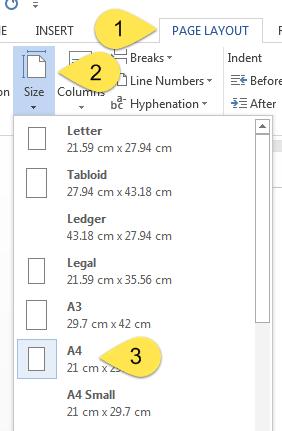 تنظیمات صفحه در ورد