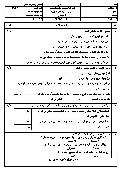 نمونه سوال امتحان پایانی منطق دهم رشته ادبیات و علوم انسانی با جواب - خرداد 96