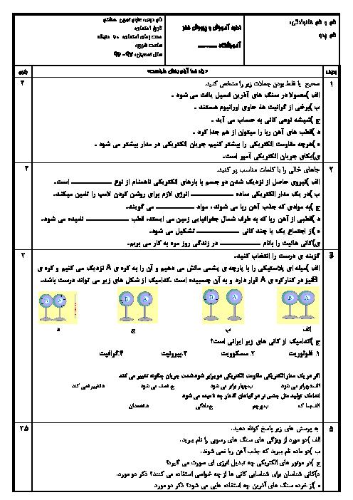 امتحان مستمر علوم تجربی هشتم مدرسه شهید منصور پرهیزگار | فصل 9 تا 12