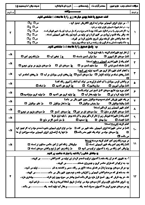 آزمون علوم تجربی هشتم مدرسه امام حسین (ع)   فصل 2: تغییرهای شیمیایی در خدمت زندگی