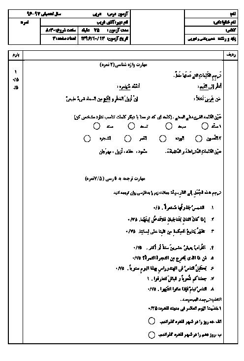 امتحان نوبت اول عربی، زبان قرآن (1) دهم تجربی و ریاضی دبیرستان شهید مجتهدی تهران | دی 96