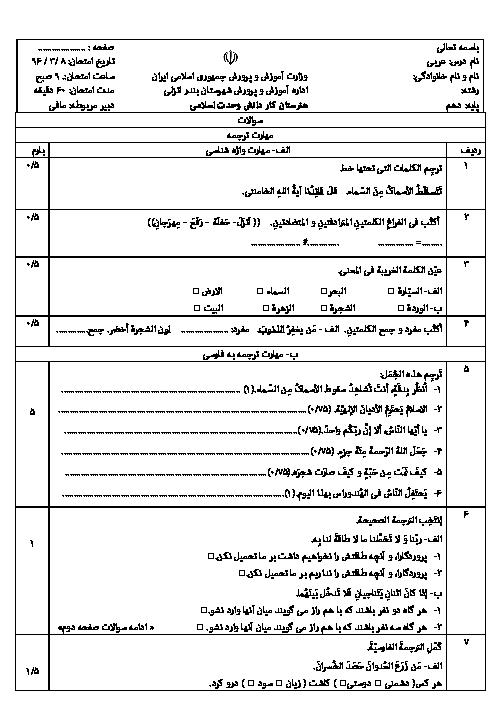 سوالات امتحان پایانی عربی، زبان قرآن (1) پایۀ دهم هنرستان وحدت اسلامی بندر انزلی | خرداد 96
