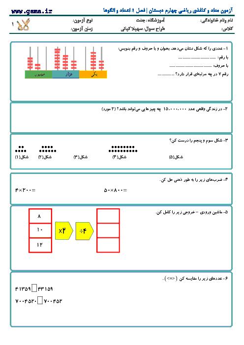 آزمون مداد و کاغذی ریاضی چهارم دبستان | فصل 1: اعداد و الگوها