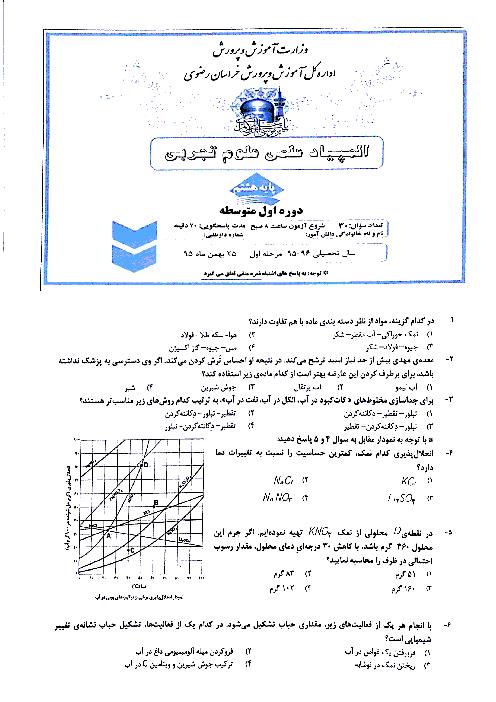 المپیاد علوم پایۀ هشتم استان خراسان رضوی (30 سؤال تستی )   مرحلۀ اول: بهمن95
