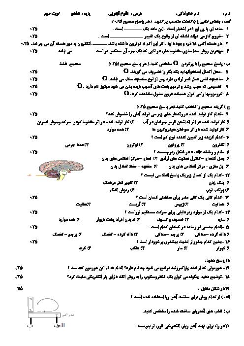 امتحان نوبت دوم علوم تجربی پایه هشتم دبیرستان مصلی نژاد مشهد | خرداد 95