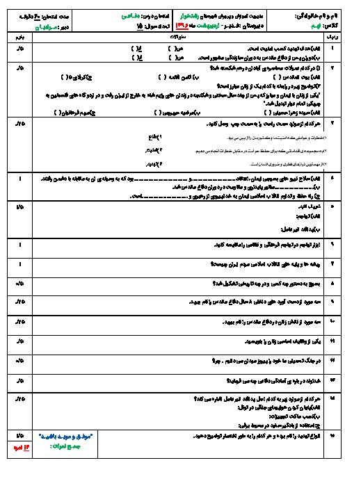 امتحان درس آمادگی دفاعی پایه نهـم دبیرستان غـدیـر -  اردیبهشت ماه 1396