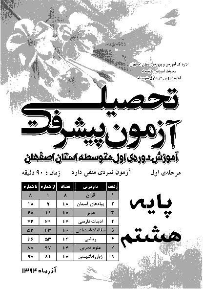 آزمون پیشرفت تحصیلی پایه هشتم مدارس استان اصفهان | آذرماه 1394 با پاسخنامه