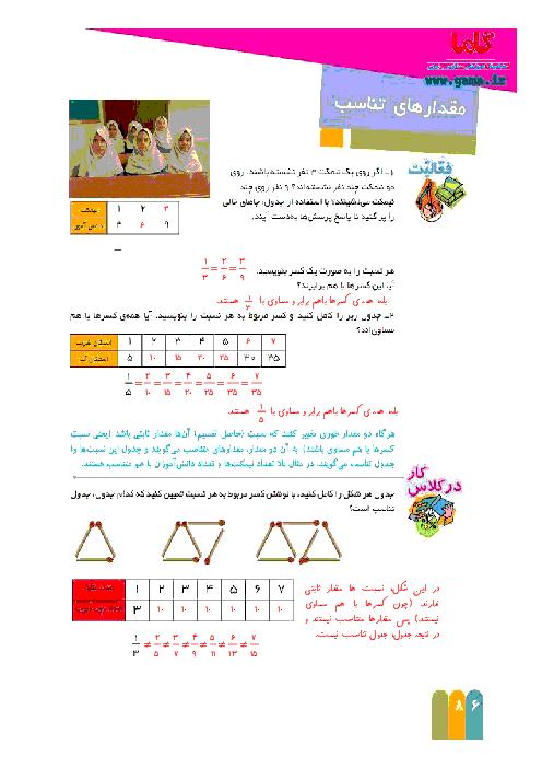 راهنمای گام به گام ریاضی ششم | فصل 5 : مقدارهای تناسب