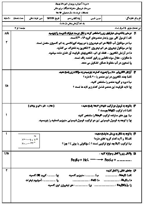 امتحان نوبت دوم شیمی (1) دهم دبیرستان غیردولتی نخبگان سرای دانش بهبهان - خرداد 96
