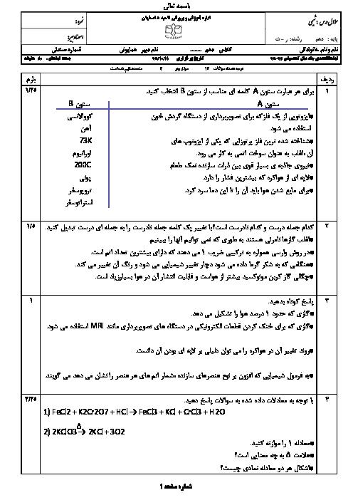امتحان نوبت اول شیمی (1) دهم رشتۀ ریاضی و تجربی دبیرستان پسرانه سادات اصفهان - دیماه 95