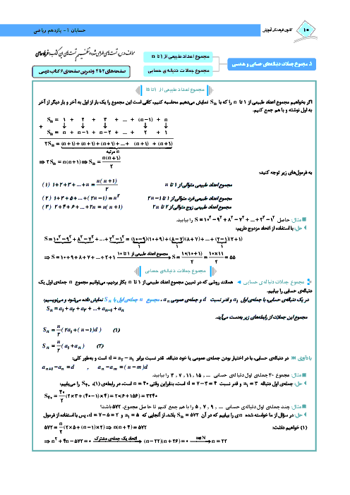 درسنامه آموزشی و 103 سوال تستی حسابان (1) پایه یازدهم رشته ریاضی | فصل اول- درس 1 و 2