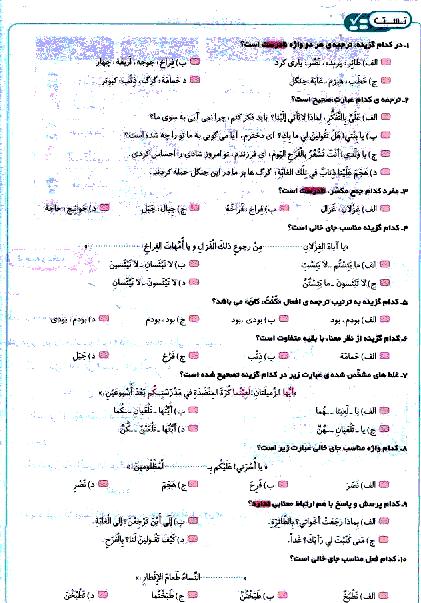 تستی یا پیشرفت تحصیلی عربی هشتم  | الدَّرْسُ السّابِعُ: (...أرْضُ اللّهِ واسِعَة)