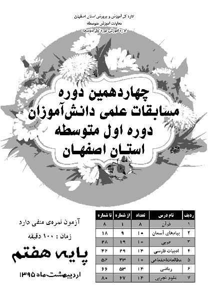 سوالات و پاسخ کلیدی چهاردهمین دوره مسابقه علمی پایه هفتم استان اصفهان | اردیهشت 1395
