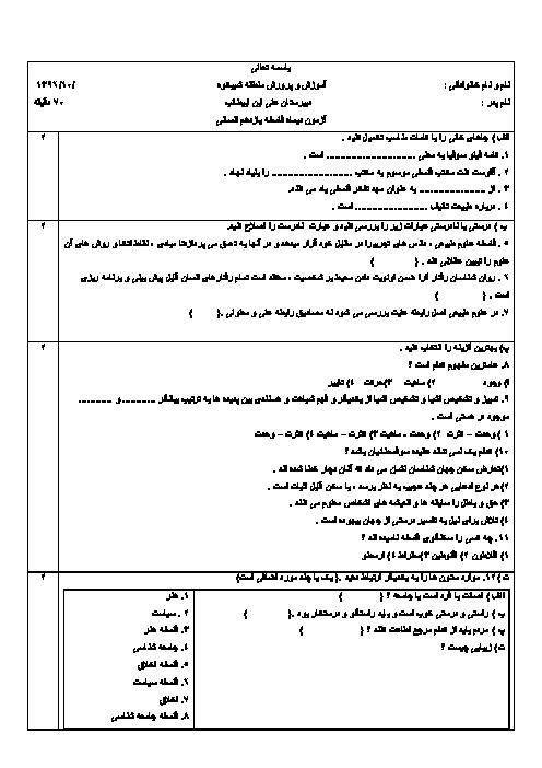 سؤالات امتحان نوبت اول فلسفه یازدهم رشته انسانی دبیرستان علی ابن ابیطالب | دی 96