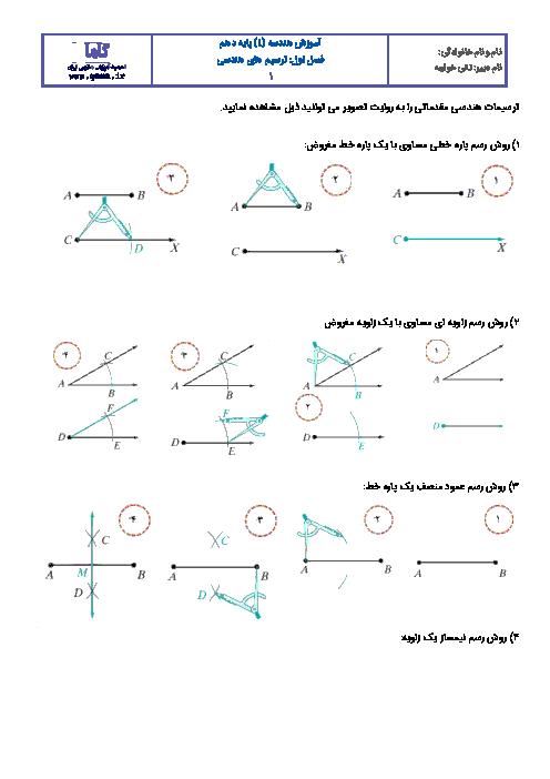 آموزش هندسه (1) دهم رشته رياضی و تجربی  |  درس اول: ترسیم های هندسی
