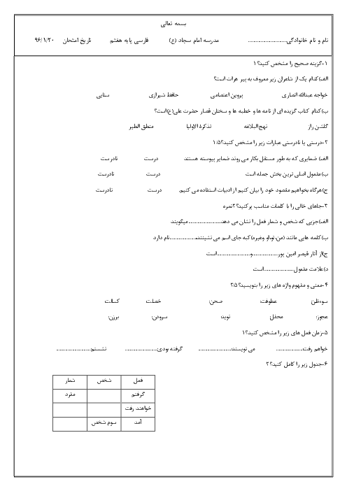آزمون میان نوبت دوم ادبیات فارسی هفتم مدرسه امام سجاد (ع) | اردیبهشت ماه