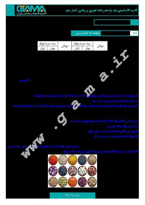 گام به گام شیمی (2) پایه یازدهم رشته ریاضی و تجربی | پاسخ فعالیتها فصل 2: در پی غذای سالم