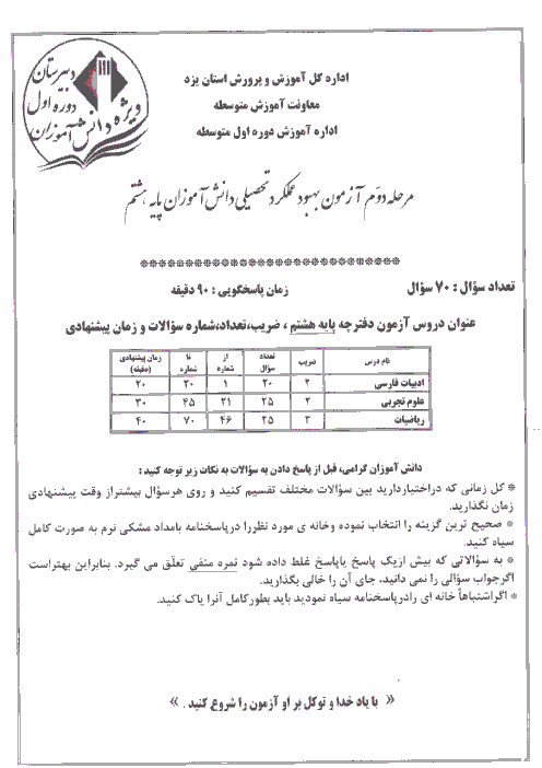 آزمون بهبود عملکرد تحصیلی دانش آموزان پایه هشتم استان یزد | مرحله دوم (اردیبهشت 94)