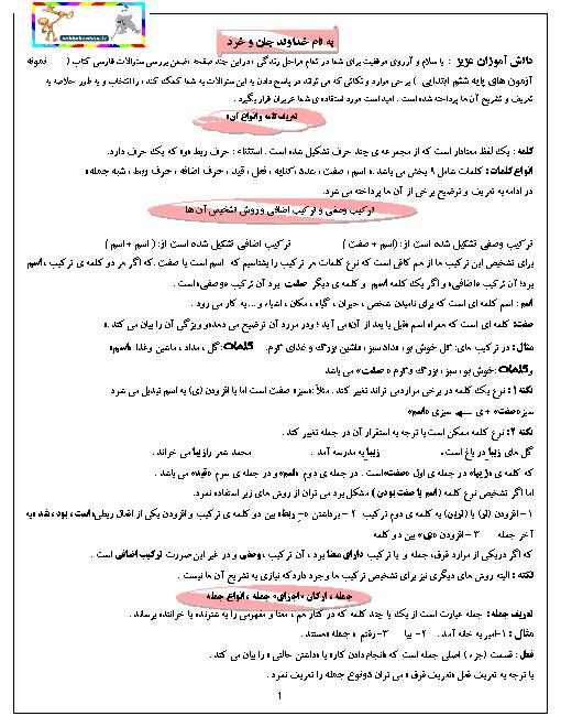 خلاصه نکات مهم دستور زبان، آرایه ها، قالب های شعری و واژه های مترادف و متضاد فارسی ششم
