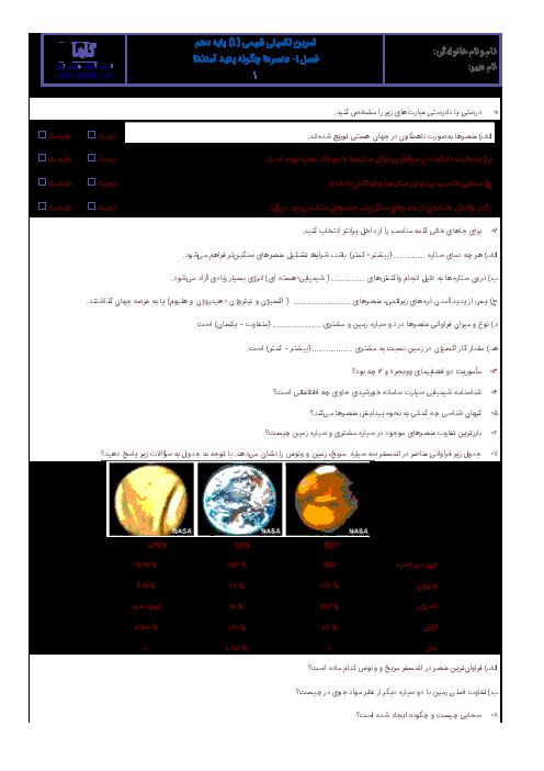آزمونک شیمی (1) دهم رشته رياضی و تجربی با جواب    فصل اول: عنصرها چگونه پدید آمدند؟