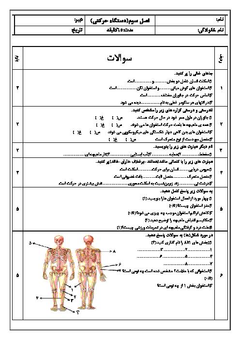 نمونه سوالات امتحانی زیست شناسی (2) یازدهم  فصل سوم: دستگاه حرکتی