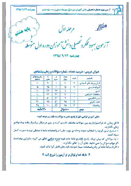 آزمون بهبود عملکرد تحصیلی دانش آموزان دوره اول متوسطه پایه هشتم   استان یزد مرحله اول 96-95