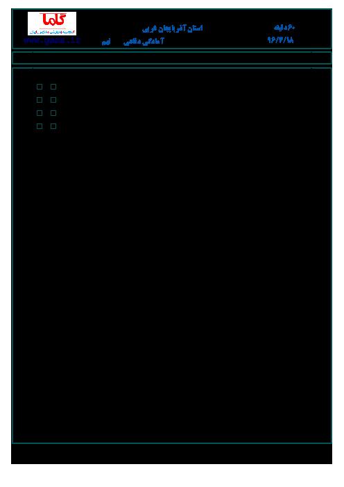 سوالات امتحان هماهنگ استانی نوبت دوم خرداد ماه 96 درس آمادگی دفاعی پایه نهم | استان آذربایجان غربی